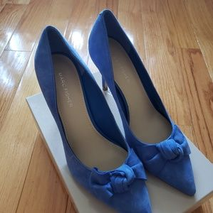 Marc Fisher Blue Suede Bow Dorenty Pumps